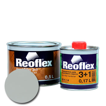 Изображение товара Грунт-наполнитель 2К REOFLEX 3:1 (0,5л) серый и отвердитель (0,17л)