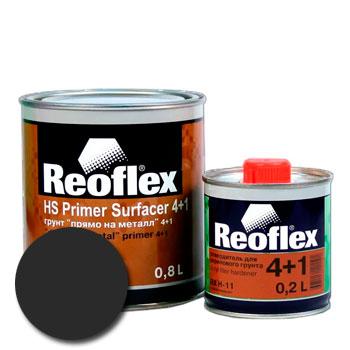 Изображение товара Грунт-наполнитель 2К Reoflex 4:1 Прямо-На-Металл (0,8л и отвердитель) черный