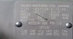 Табличка с кодом краски